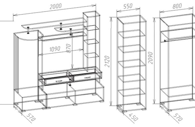 Шкаф 2–створчатый с ящиками Вик 32