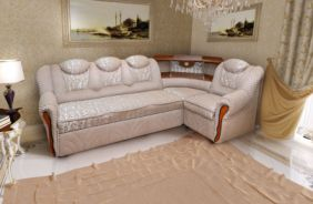 Угловой диван Лаура с баром. Ткань: Сlory desert, Сlory diamond desert