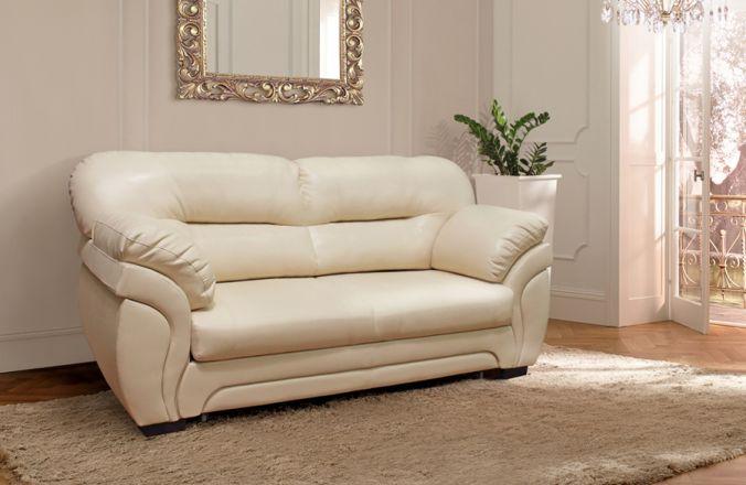 Прямой белый диван из эккожи Гранд