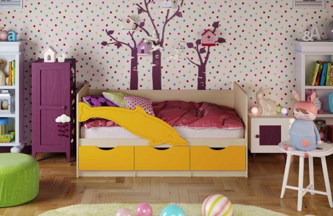 Детская кровать Дельфин 1. Желтый