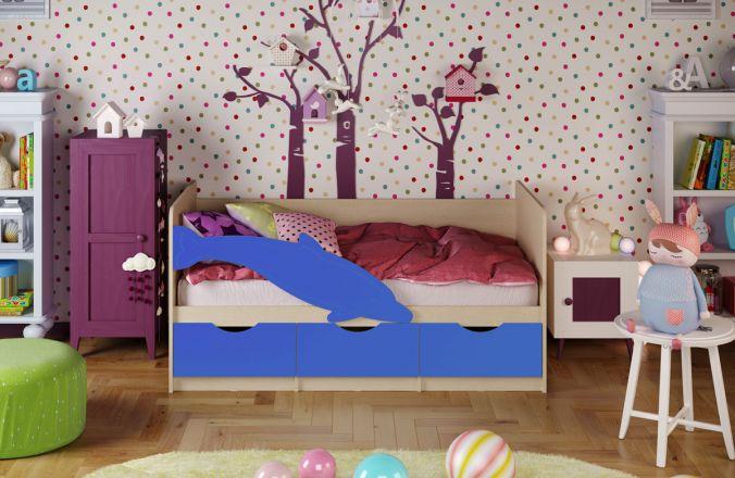 Детская кровать Дельфин 1. Синий