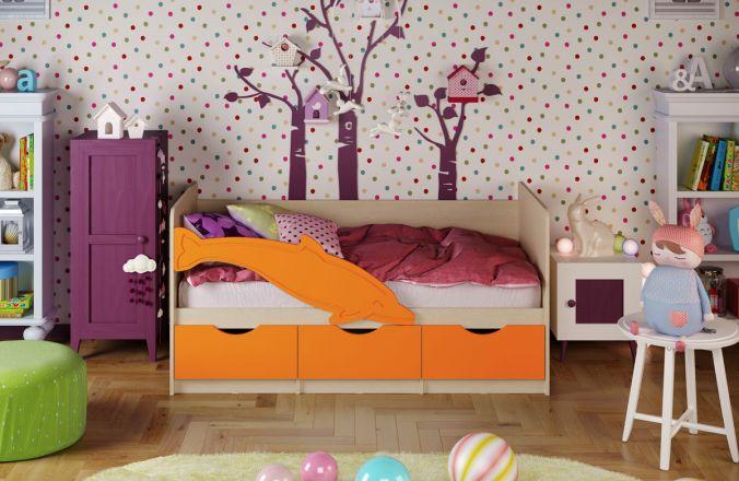 Детская кровать Дельфин 1. Оранжевый