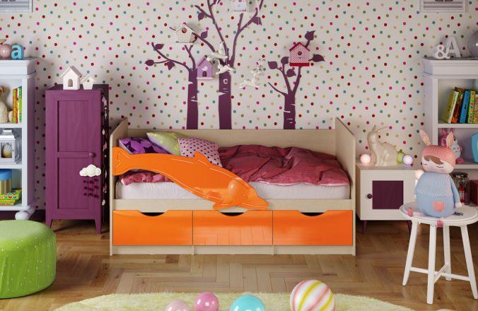 Детская кровать Дельфин. Оранжевый