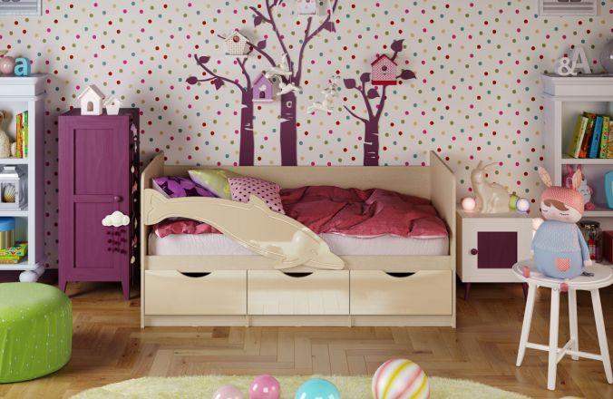 Детская кровать Дельфин. Ваниль