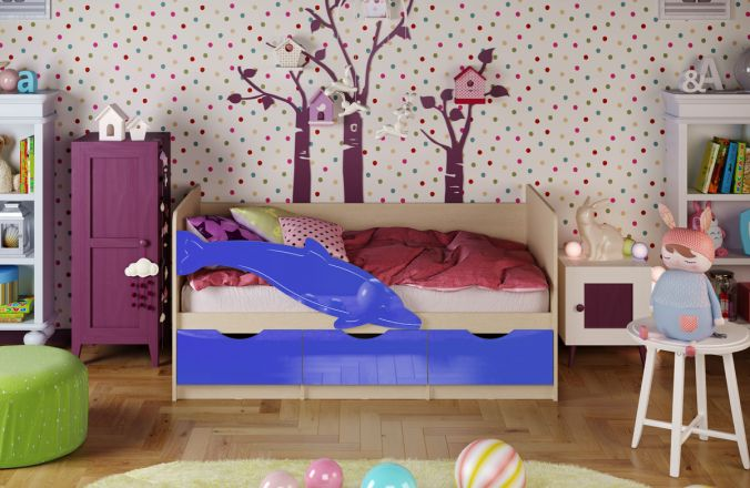 Детская кровать Дельфин. Синий