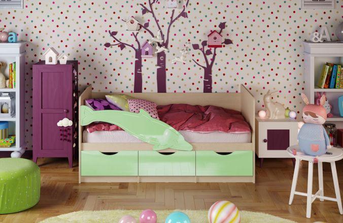 Детская кровать Дельфин. Салатовый