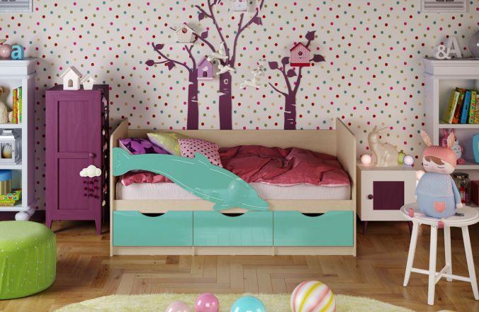 Детская кровать Дельфин. Бирюза