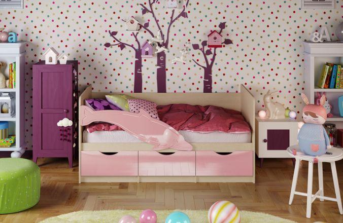 Детская кровать Дельфин. Розовый