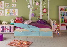 Детская кровать Дельфин (глянцевый) 1.6 м