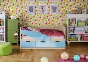 Детская кровать Бабочки (глянец) 1.6 м