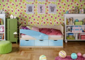Детская кровать Бабочки (глянец) 1.8 м