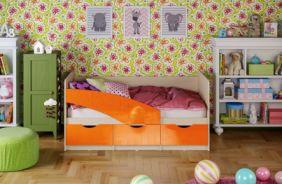Детская кровать Бабочки. Оранжевый