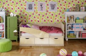 Детская кровать Бабочки. Ваниль