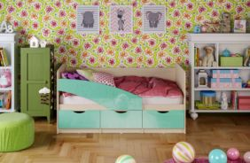 Детская кровать Бабочки. Бирюза