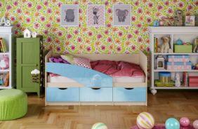 Детская кровать Бабочки. Голубой