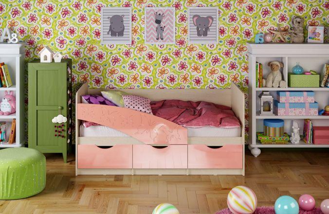 Детская кровать Бабочки. Розовый