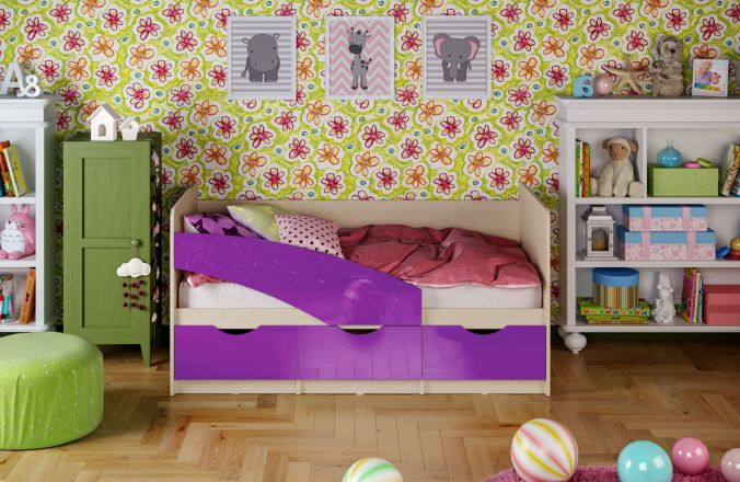 Детская кровать Бабочки. Фиолетовый
