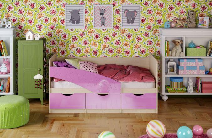 Детская кровать Бабочки. Сиреневый