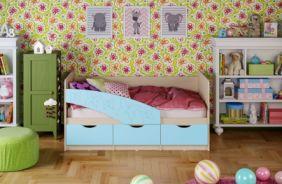 Детская кровать Бабочки (матовый) 1.6 м. Голубой