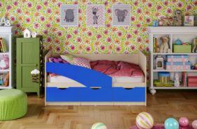 Детская кровать Бабочки (матовый) 1.6 м. Синий
