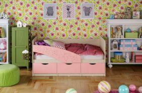 Детская кровать Бабочки (матовый) 1.6 м. Розовый