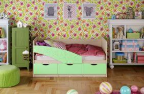 Детская кровать Бабочки (матовый) 1.6 м. Салатовый