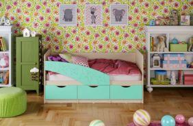 Детская кровать Бабочки (матовый) 1.6 м. Бирюза