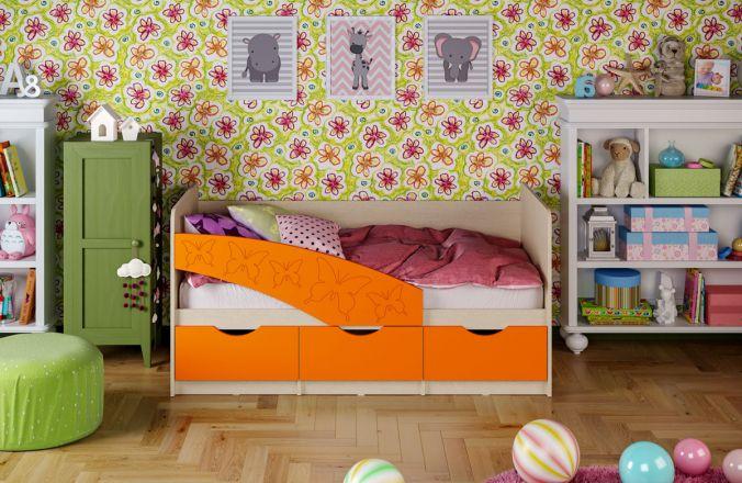 Детская кровать Бабочки (матовый) 1.6 м. Оранжевый