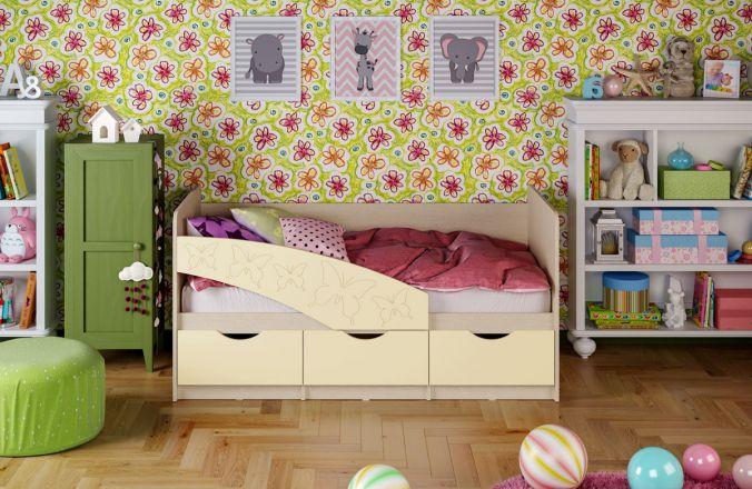 Детская кровать Бабочки (матовый) 1.6 м. Ваниль