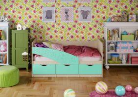 Детская кровать Бабочки (матовый) 1.6 м