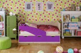 Детская кровать Бабочки (матовый) 1.8 м. Фиолетовый