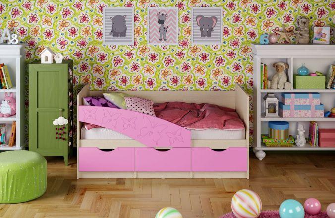 Детская кровать Бабочки (матовый) 1.8 м. Сиреневый