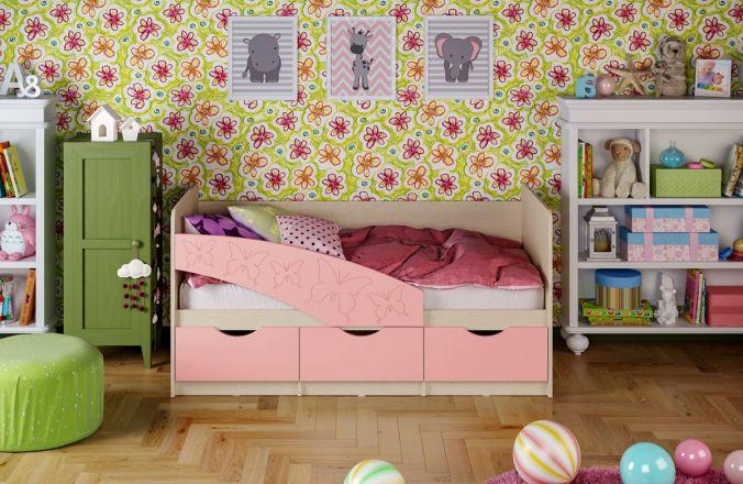 Детская кровать Бабочки (матовый) 1.8 м. Розовый