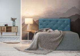 Односпальная кровать с мягким изголовьем и пуговицами