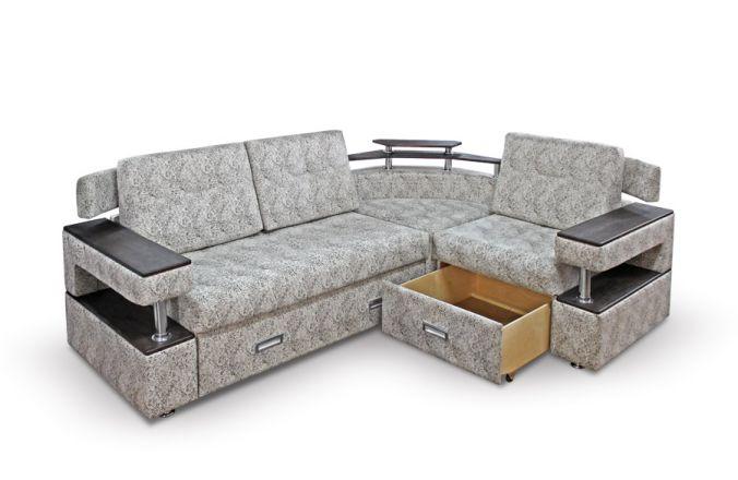Угловой диван с полками Борнео-1. Ящик для белья