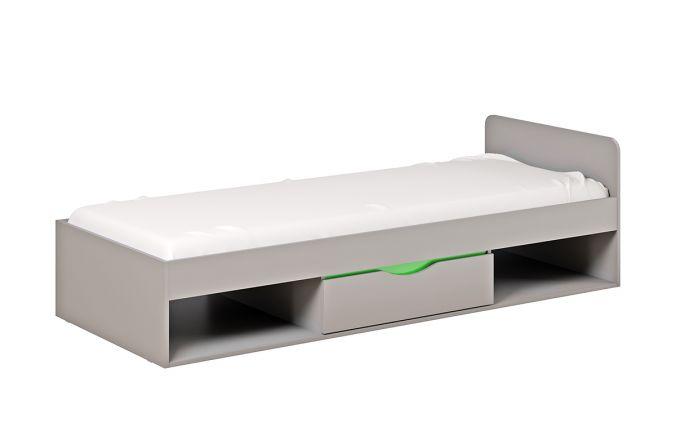 Кровать Неаполь с ящиками. Серый/ Зелёный