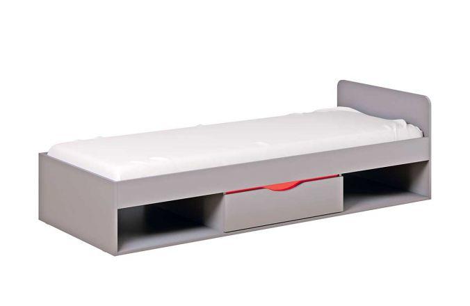 Кровать Неаполь с ящиками. Серый/ Красный