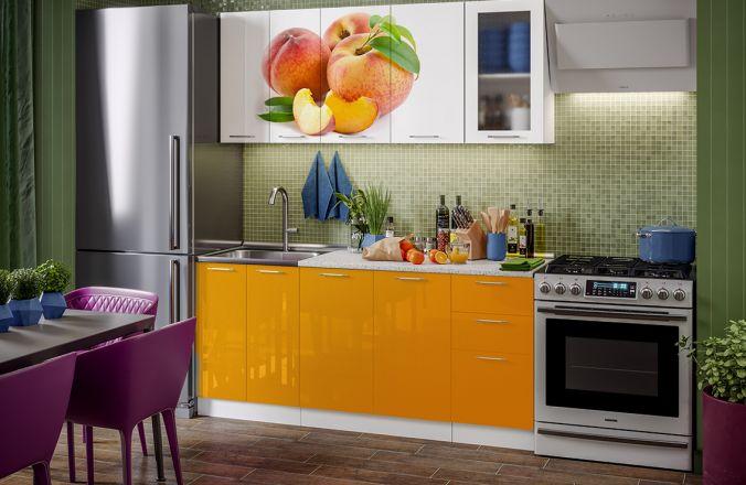 Кухня фотопечать Персик. Готовое решение 1,8 м