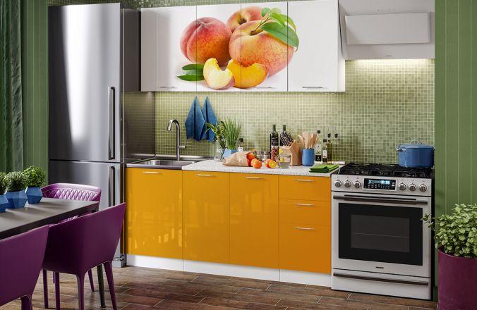 Кухня фотопечать Персик. Готовое решение 1,7 м