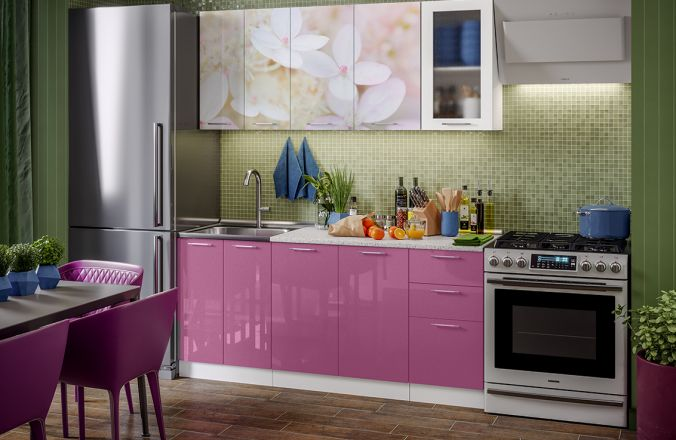 Кухня фотопечать Вишневый цвет. Готовое решение 1,8