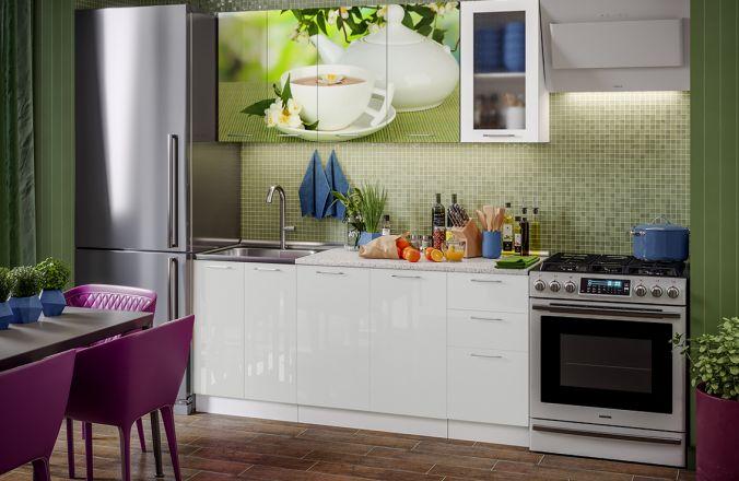 Кухня фотопечать Зеленый чай. Готовое решение 1,8