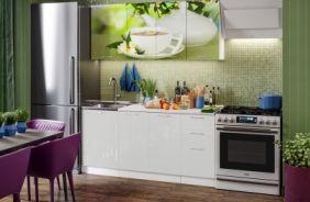 Кухня фотопечать Зеленый чай. Готовое решение 1,7