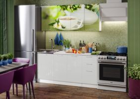 Кухня фотопечать Зеленый чай ( готовое решение 1,7 м )