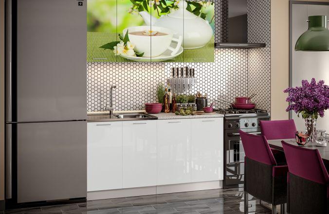 Кухня фотопечать Зеленый чай. Готовое решение 1,6