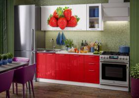Кухня фотопечать Клубника ( готовое решение 1,8 м )