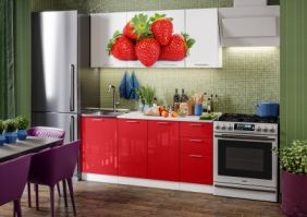 Кухня фотопечать Клубника ( готовое решение 1,7 м )