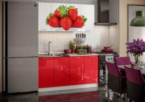 Кухня фотопечать Клубника ( готовое решение 1,6 м )