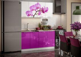 Кухня фотопечать Орхидея ( готовое решение 1,6 (80м+80ст(2+2))