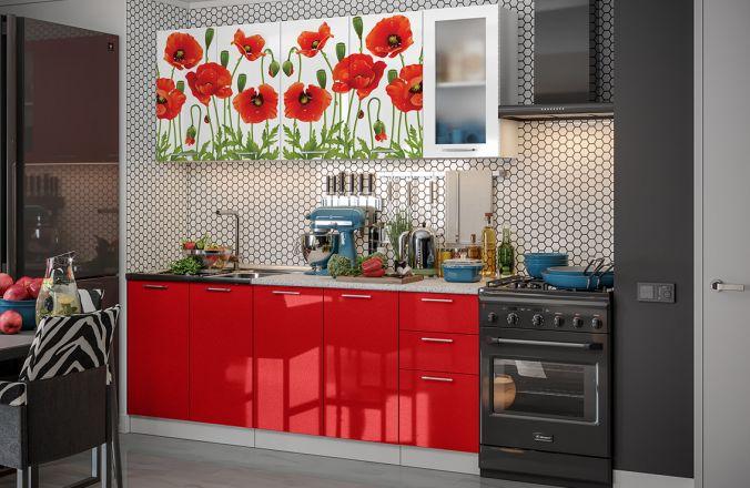 Кухня фотопечать Маки 2,0 м