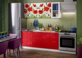 Кухня фотопечать Маки 1,8 м